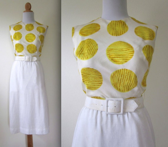 SUMMER SALE/ 30% off Vintage 50s 60s New Horizons Yellow and White Polka Dot Belted Linen Wiggle Dress (size xs, small)