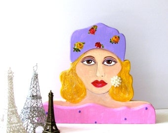 WOODEN SCULPTURE LADY, Handmade sculpture, Hand Painted, Home Decor, Gift for Woman, Wood Sculpture, purple flower turban, lady book end,