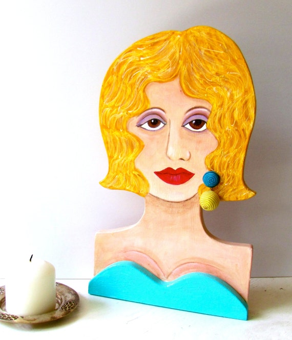 BETTE WOODEN LADY, Handmade, Hand Painted, Blond, Boudoir Ornament, Home Decor, Gift for Woman, Turquoise, Wood Sculpture, glamorous lady,