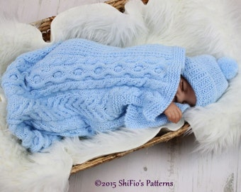 KNITTING PATTERN For Cuddle Cable Cocoon, Papoose, Hat Knitting Pattern in 2 Sizes PDF 318 Digital Download