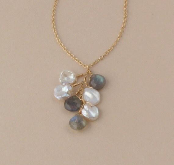 Keshi Pearl Necklace: Labradorite Keshi Pearl Necklace Gray Necklace Beach Wedding