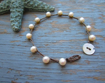 Purity pearl crocheted boho bracelet, with white freshwater pearls