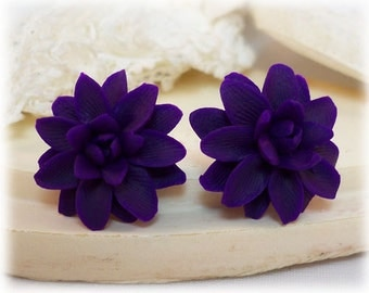 Purple Dahlia Earrings Stud or Clip On - Dahlia Jewelry Collection