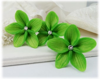 Green Hair Flowers- Green Flower Hair Pins, Green Wedding Hair Flowers