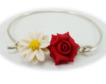 Daisy Rose Two Flower Bracelet - Flower Garden Jewelry