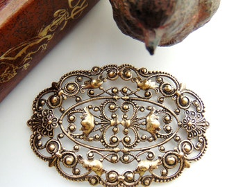 ANTIQUE BRASS * Large Oval Floral Filigree Stamping ~ Jewelry Ornamental Findings (C-1006)