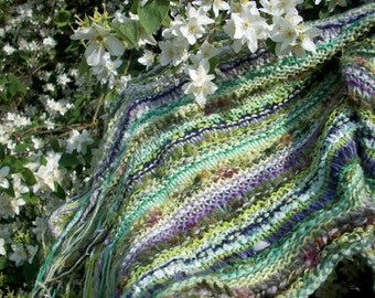 Knitted wedding shawl, violet, summer wrap, long wide scarf, warm cosy stole by SpinningStreak