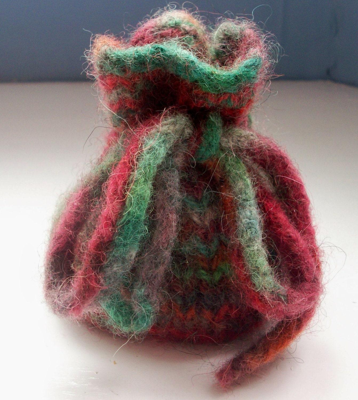 Knitting Pattern Small Drawstring Bag : Hand knitted felted dice bag coin pouch small drawstring