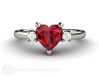 Ruby Ring Ruby Engagement Ring Heart Promise Ring 3 Stone Diamonds 14K or 18K Gold Red Gemstone Ring July Birthstone