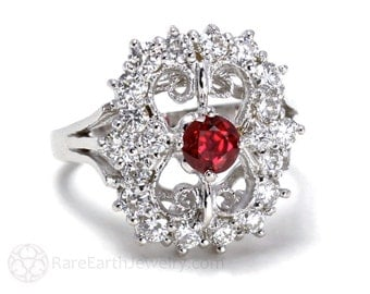 14K Art Deco Ring Vintage Ruby Ring Diamonds Antique Ruby Engagement Ring Right Hand Ring