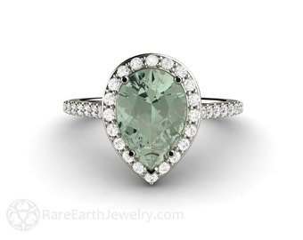 Green Amethyst Ring Diamond Pear Halo Conflict Free Diamonds Engagement Ring 14K or 18K Gold Wedding Ring