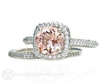 Morganite Ring Morganite Engagement Ring and Wedding Band Diamond Halo 14K Gold Wedding Ring