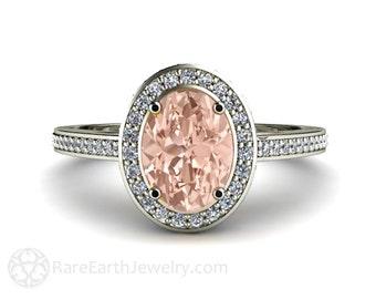 Morganite Ring Oval Diamond Halo Setting Morganite Engagement Ring 14K White Yellow Rose Gold Bridal Jewelry