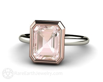 14K Two-Tone Morganite Engagement Ring Bezel Solitaire Emerald Cut Morganite Ring 14K White Yellow Rose Gold