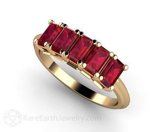 Ruby Ring Emerald Ruby Band Anniversary Band Wedding Ring July Birthstone Gemstone Ring