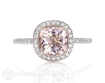 Cushion Morganite Engagement Ring Morganite Ring Diamond Halo 14K or 18K Gold or Palladium Custom Wedding Ring
