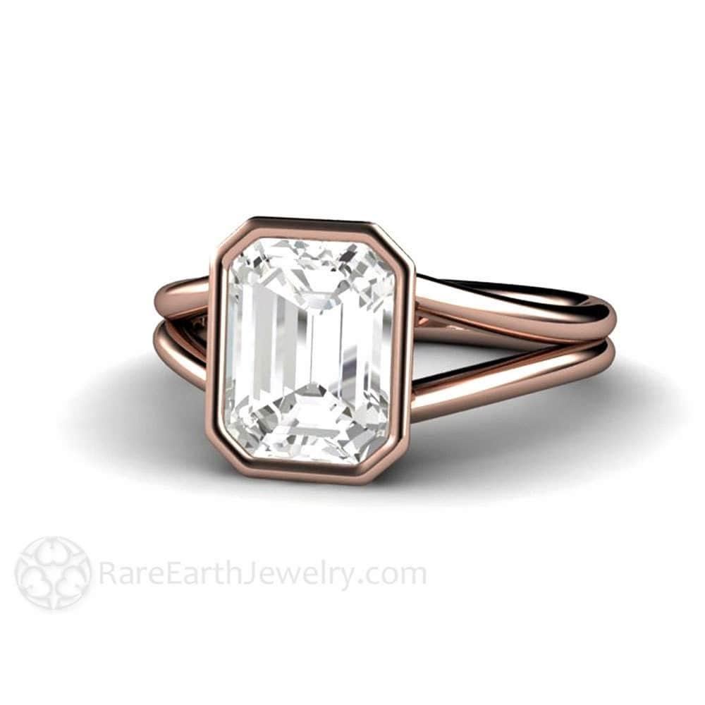 white sapphire ring white sapphire engagement ring bezel split. Black Bedroom Furniture Sets. Home Design Ideas