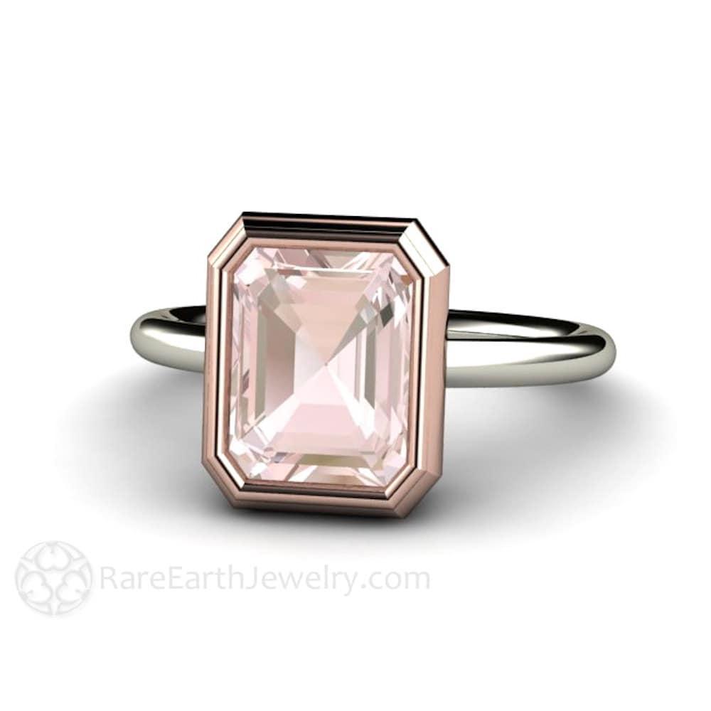 ... Engagement Ring Bezel Solitaire Emerald Cut Morganite Ring 14K White  Yellow. 🔎zoom
