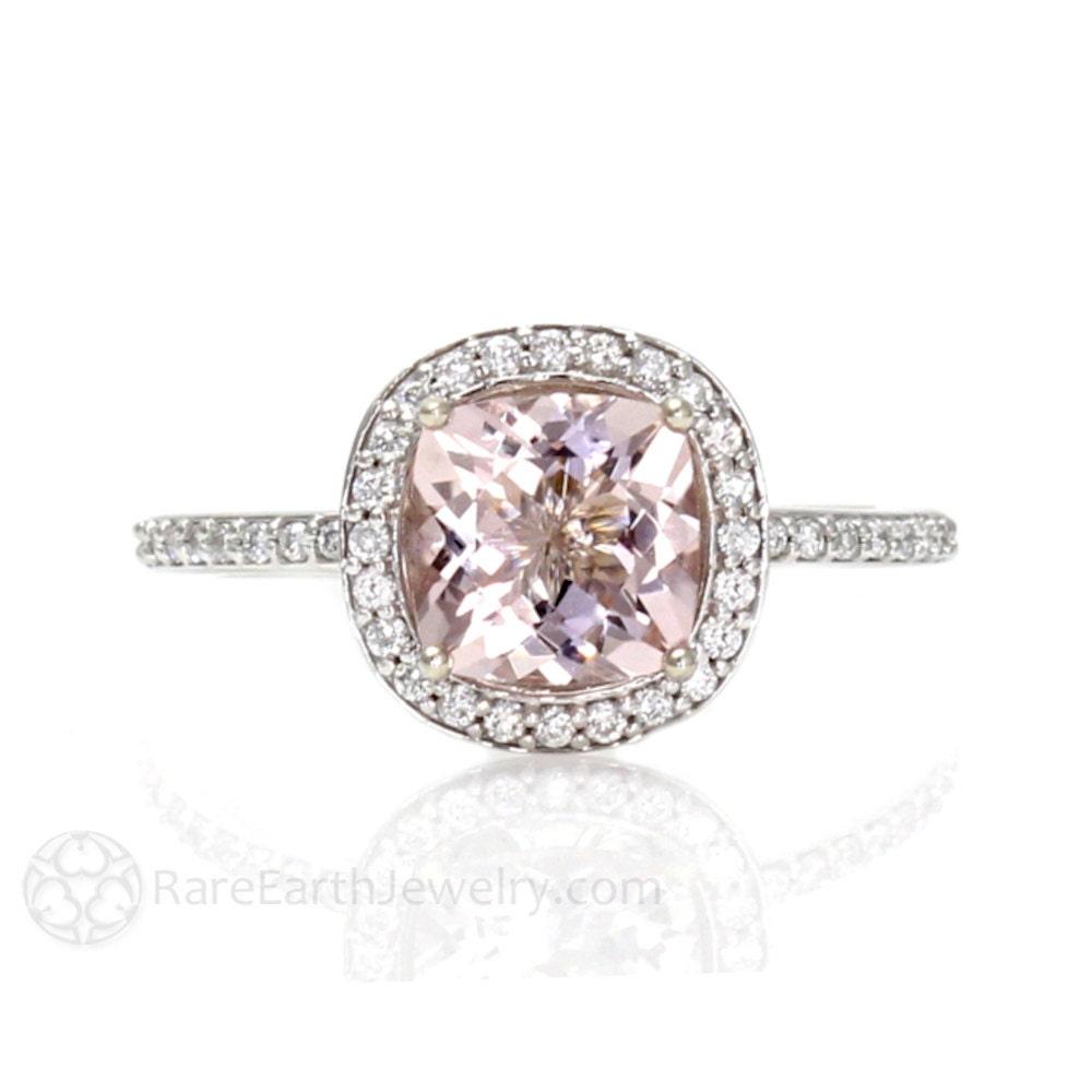 Cushion Morganite Engagement Ring Morganite Ring Diamond Halo
