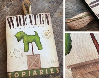 Wheaten Terrier Dog Topiary garden illustration graphic art 7/8 canvas on hanging wooden wall plaque stephen fowler UNFRAMED