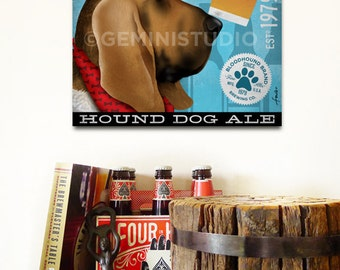 Bloodhound dog Brewing Company Canvas Art graphic art on gallery wrapped canvas by stephen fowler