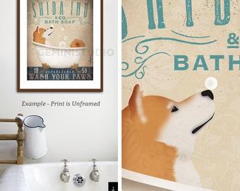 Shiba Inu dog bath soap Company vintage style artwork by Stephen Fowler Giclee Signed Print