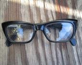 Black 60s Vintage Glasses Modern rectangle frames Mod Cool Italian glasses