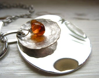 Amber Necklace, Baltic Amber Metalwork Necklace, Handmade Metalwork Amber Necklace, Baltic Amber Jewelry, Gemstone Jewelry, Baltic Amber