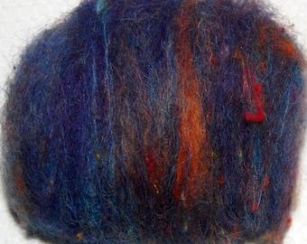 Spinning Fiber, Felting Fiber, Mini Batt, Llama Fiber, Hand Dyed Purple, Recycled Sari Silk, Cotswold wool locks, Bamboo 1 oz.