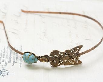 Art nouveau headband turquoise 1920's style filigree brass ornate flapper great gatsby metal rhinestone boho vintage bride