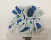 Jewelry Travel Pouch Bag - Blue Poppy Cotton and Midnight Blue Silk - Handmade in France