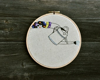 The Watering Can VIII  /  hand embroidery hoop art wall hanging