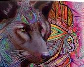 original art color pencil  drawing 16x20 wolf spirit zentangle design abstact