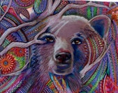 original art  drawing 16x20 mystic bear zentangle