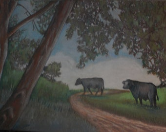 original art  drawing 11x14 cow heading home cattle