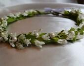 White Flower Crown, Flower Bridal Crown, Flower Girl Headpiece, Flower Halo, Wedding Flower Wreath,  Communion Headpiece
