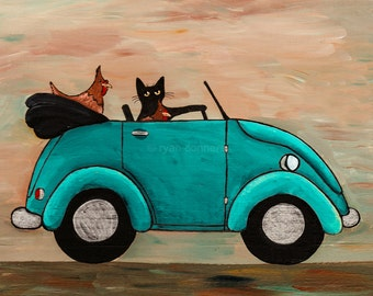 Picking Up Chicks - Original Cat Folk Art Digital Print 8x8, 10x10