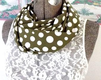Handmade Infinity Scarf, Soft Silky Fabric, Polka Dot, Taupe, White, Modern, Neutral