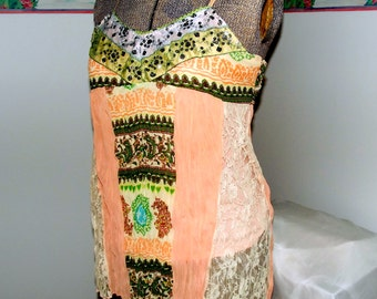 Embellished Camisole Top Festival Peach Green Altered Couture Collage Lace Gypsy Boho Small