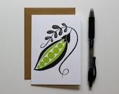 Blank Letterpress Notecard, Pea, Sweet Pea, Spring Card, Blank Card, Letterpress Gift Card, Greeting Card, Gift for Gardener, Garden