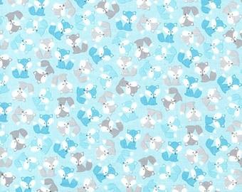 Urban Zoologie Mini Fox Fabric in Blue, Woodland Animals, Baby Fabric, Boy Fabric by Ann Kelle, Robert Kaufman - Fat Quarter to Yardage