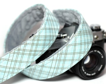 Plaid Camera Strap for DSLR with Gray Minky - Sky Plaid