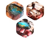 Electric skies exquisite skies and mointains chrysocolla quartz recycled fine silver big ring