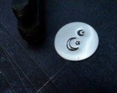 Big Design Stamp - MOON and STAR - 1/4 inch (6mm) or 1/8 inch (3mm) - includes how to stamp metal tutorial