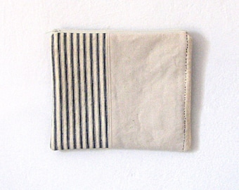 Bag Clutch Vintage Stripe Ticking Canvas Zipper Bag Cosmetic Bag  Sashiko Stitching Hand Stitching Nautical French Country Rustic