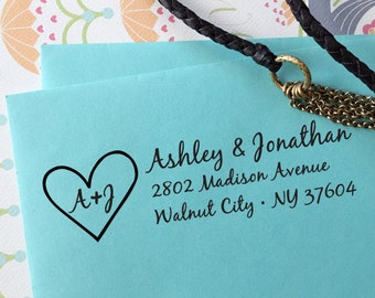 custom ADDRESS STAMP with proof from USA, Eco Friendly self inking address stamp, custom stamp, address stamp, personalized stamp Heart 2