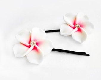 Bobby Pins, Hair Pins, Hair Accessories, Hair Jewelry, Natural Hair, Hair Decor, Island Breeze Plumeria Flower Bobby Pin Set