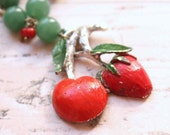 Statement Necklace with Cherry and Straberry made of Vintage Brooch  - Old and New - FOR MELINDA