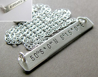 Custom Latitude Longitude Necklace - Personalized Sterling Silver Hand Stamped Jewelry (Double-side Stamping)