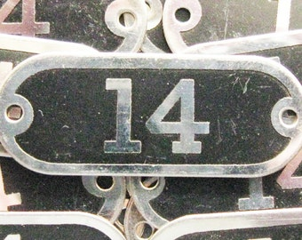 Brass Locker Tag Number 14 Industrial Painted Numbered Silver Nickel Antique Id Plate Jewelry Art Craft Home Decor Hardware